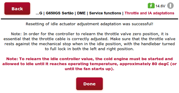 BMSE13 Throttle and Idle Actuator adaptations using the GS-911wifi web interface (step 2)