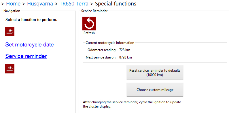 Husqvarna service reminder reset using the GS-911 PC application